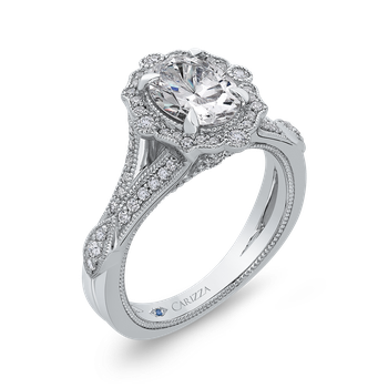 Oval Diamond Halo Engagement Ring In 14K White Gold with Split Shank (Semi-Mount)