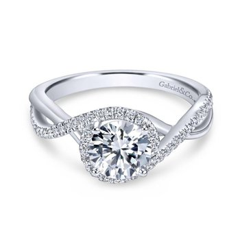 14k White Gold Diamond Pave Criss Cross Engagement Ring