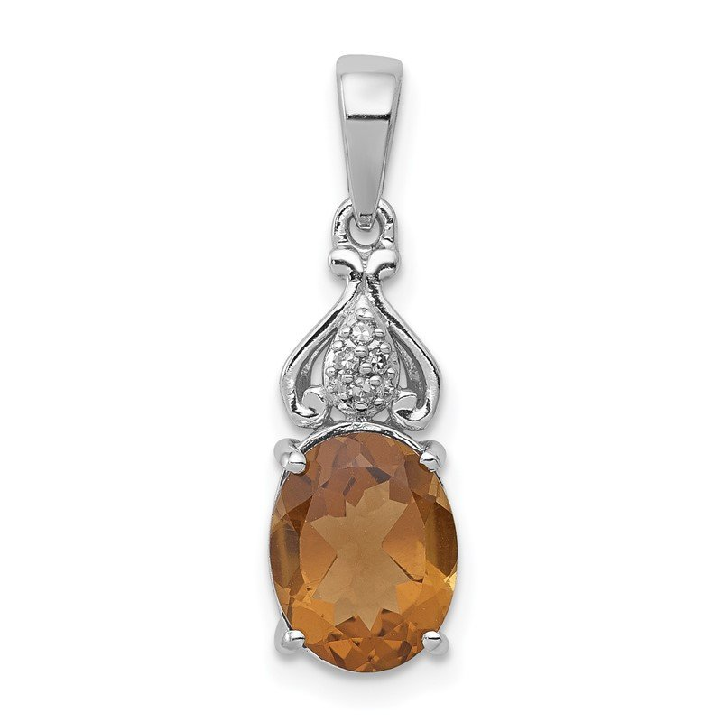 Quality Gold Sterling Silver Rhodium-plated Diamond and Whiskey Quartz Pendant