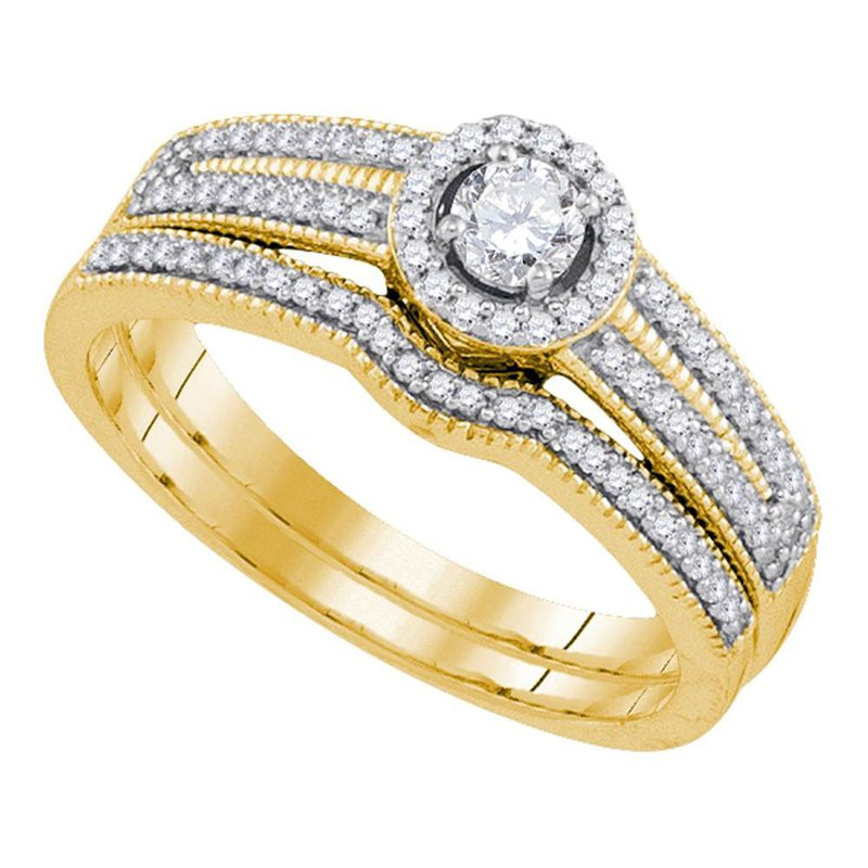 Gold-N-Diamonds, Inc. (Atlanta) 10kt Yellow Gold Womens Round Diamond Halo Bridal Wedding Engagement Ring Band Set 3/8 Cttw