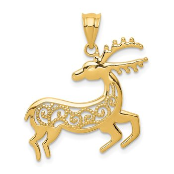 14K Polished & Filigree Deer Pendant