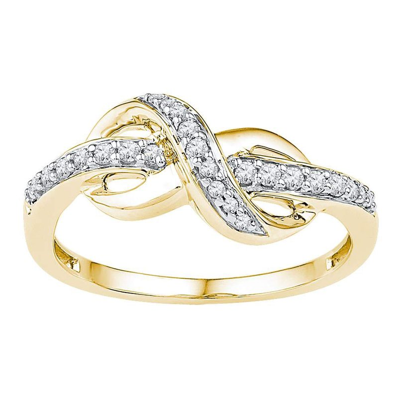 Kingdom Treasures 10kt Yellow Gold Womens Round Diamond Infinity Ring 1/5 Cttw
