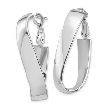 14k White Gold High Polished 7mm Wavy Omega Back Oval Hoop Earrings
