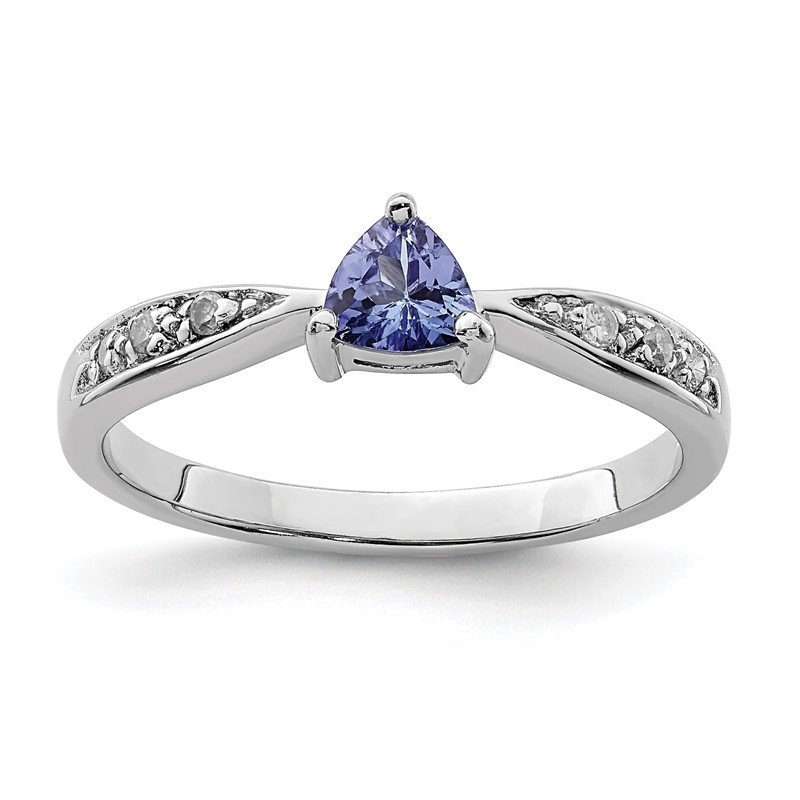 Quality Gold Sterling Silver Rhodium Tanzanite & Diam. Ring