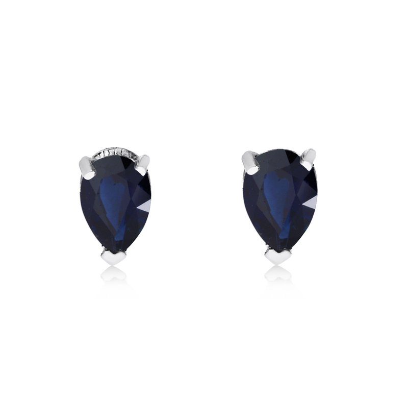 Color Merchants 14k White Gold Sapphire Pear-Shaped Earring
