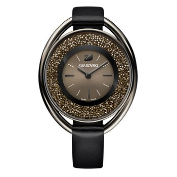 Crystalline Oval Black Tone Watch