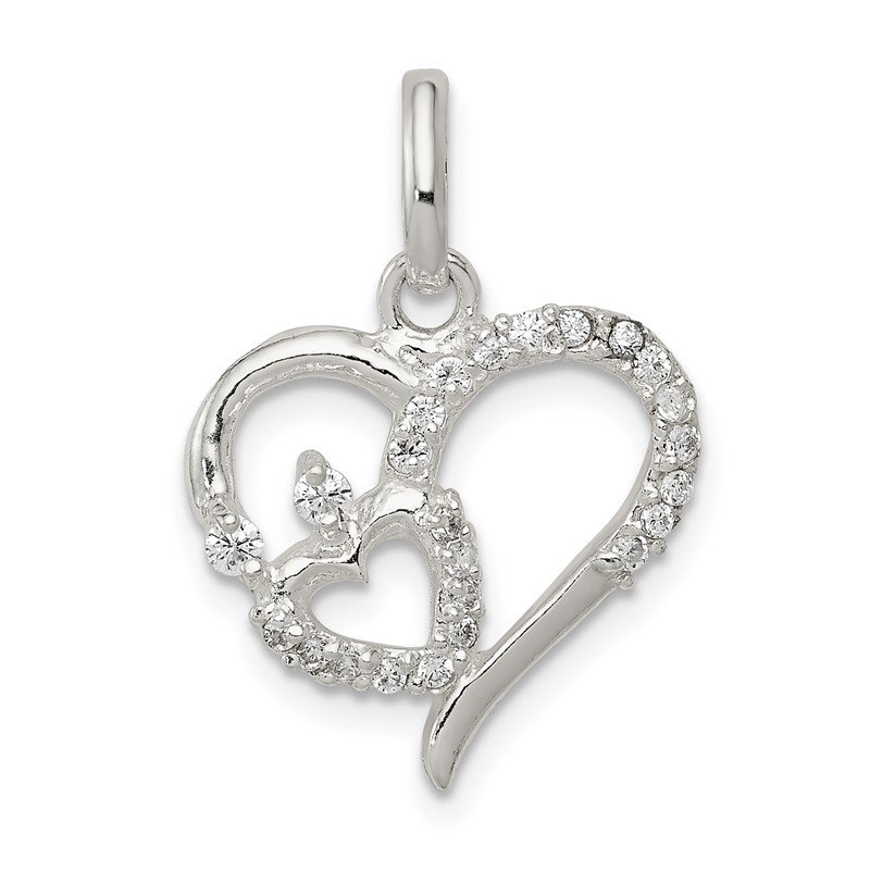 Quality Gold Sterling Silver CZ Double Heart Pendant
