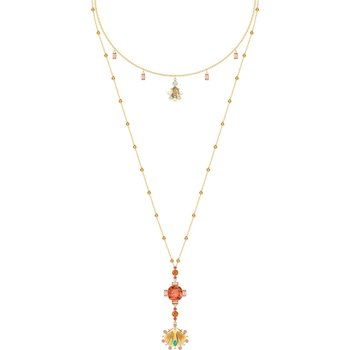 Lucky Goddess Necklace, Multi-colored, Gold-tone plated