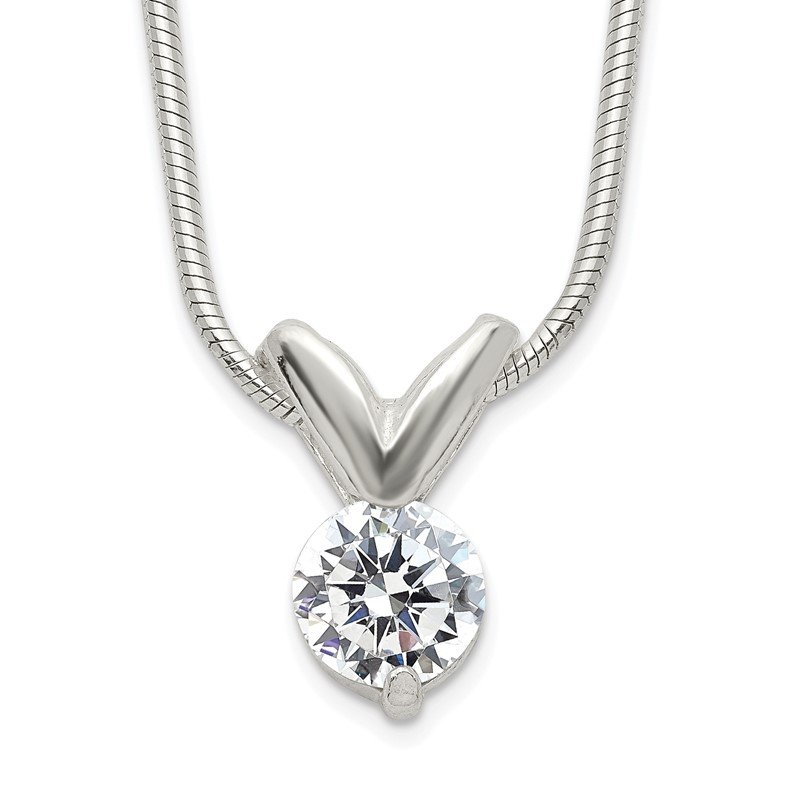 Quality Gold Sterling Silver CZ Pendant Necklace
