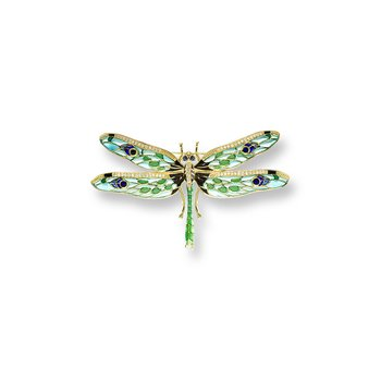 Green Dragonfly Brooch.18K -Diamonds and Blue Sapphires - Plique-a-Jour