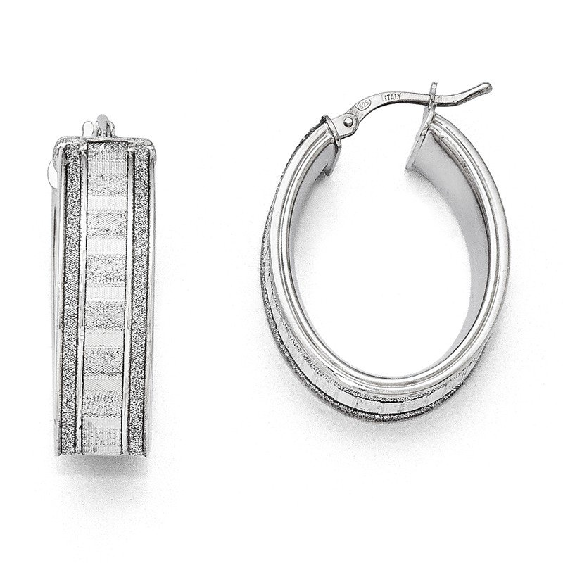 Leslie's Leslie's Sterling Silver Glimmer Infused Oval Hoop Earrings