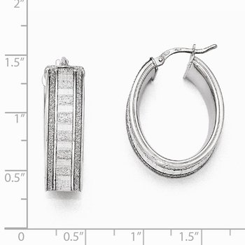 Leslie's Sterling Silver Glimmer Infused Oval Hoop Earrings