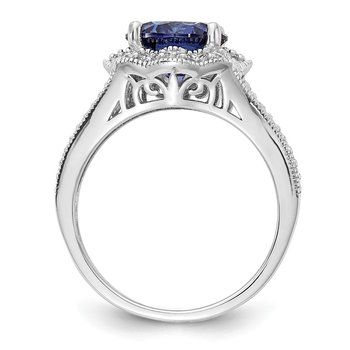 Cheryl M Sterling Silver Purple Color CZ and White CZ Ring