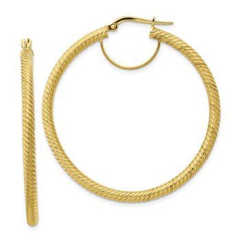 10k 3x40 Twisted Round Hoop Earrings