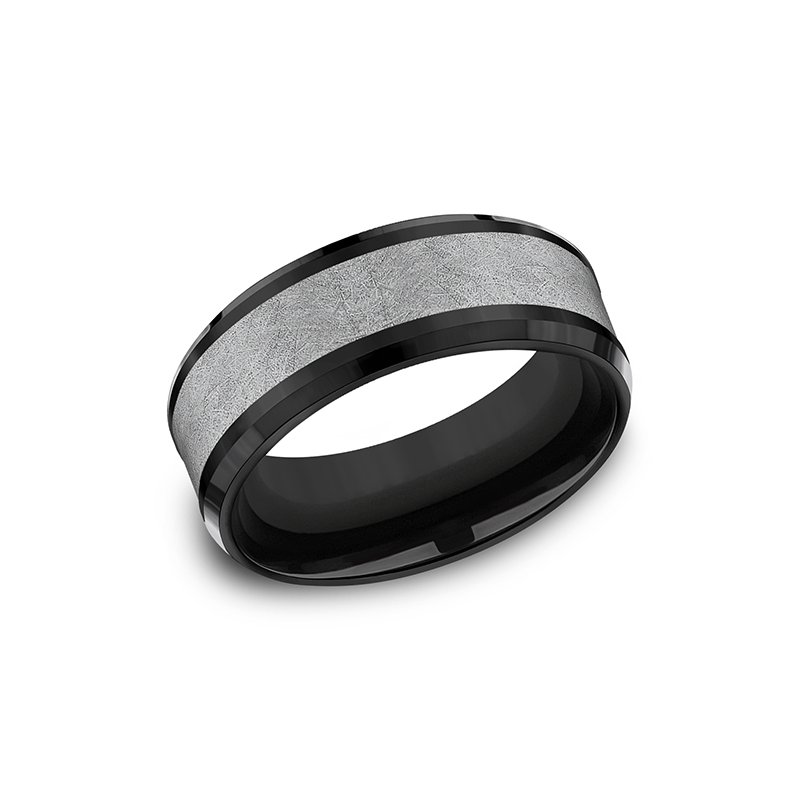 Tantalum Tantalum and Black Titanium Comfort-fit Design Wedding Band