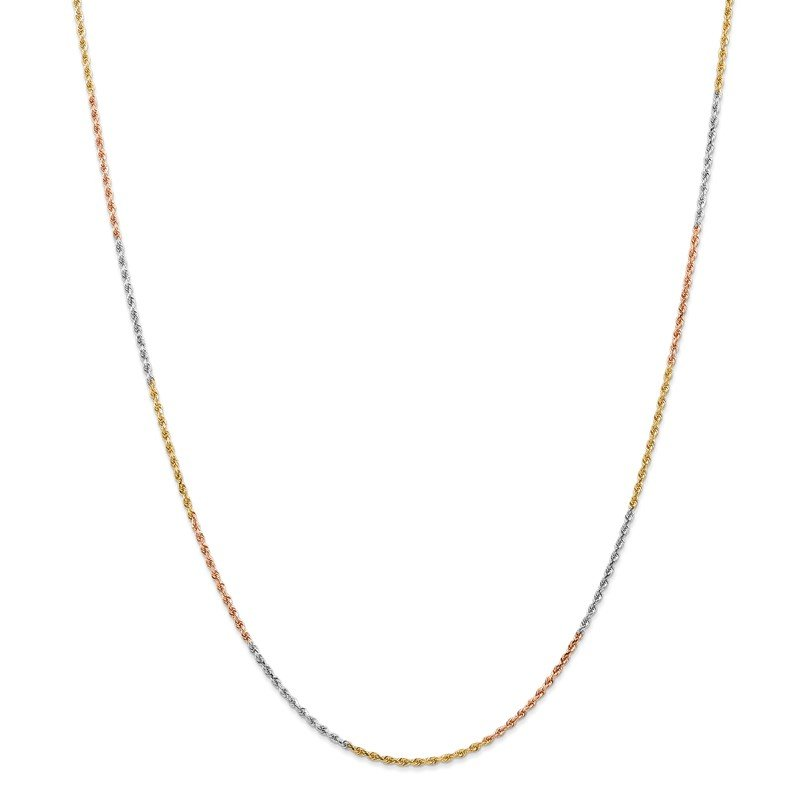 Quality Gold 14k Tri-Color 1.5mm D/C Rope Chain Anklet