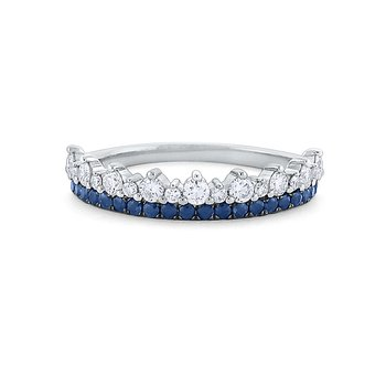 Diamond and Blue Sapphire Crown Ring