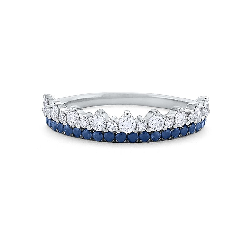 KC Designs Diamond and Blue Sapphire Crown Ring