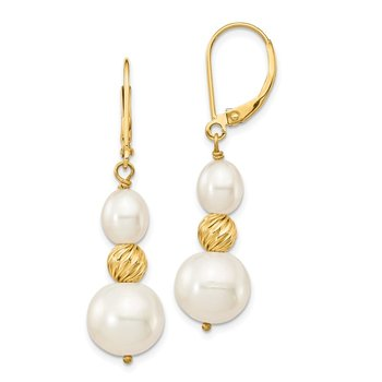 14K 6-10mm White Freshwater Cultured Pearl D/C Bead Leverback Earrings