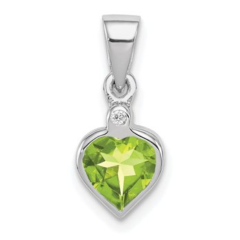 Sterling Silver Rhodium Peridot Diamond Pendant