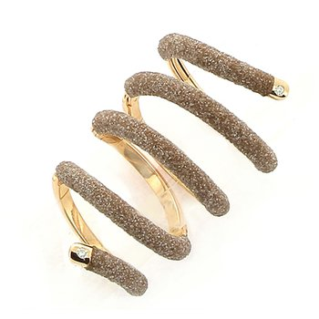 Snake Ring - 7 Joint Beige Polvere & Rose Gold