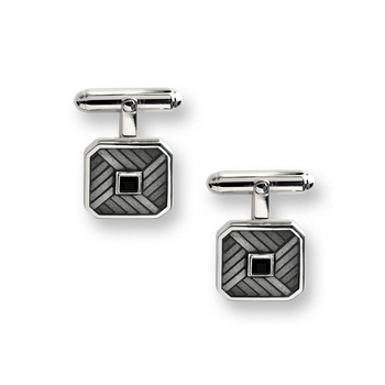Black Classic T-Bar Cufflinks.Sterling Silver-Black Onyx