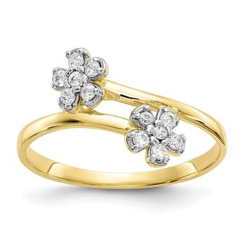 10k Double Flower CZ Ring