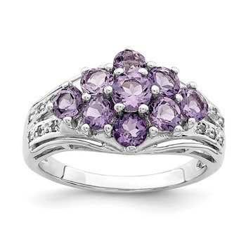 Sterling Silver Rhodium-plated Amethyst & White Topaz Fancy Ring