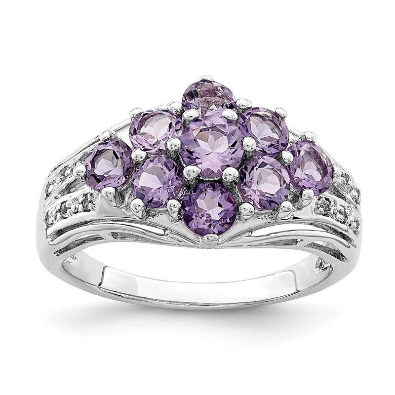 Quality Gold Sterling Silver Rhodium-plated Amethyst & White Topaz Fancy Ring