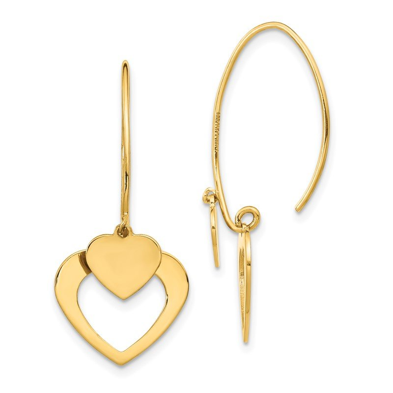 Quality Gold 14K Polished Heart Dangle Earrings