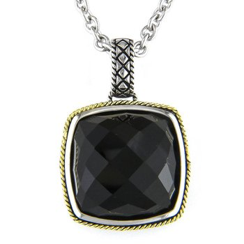 18kt and Sterling Silver Cushion Onyx Pendant with Chain