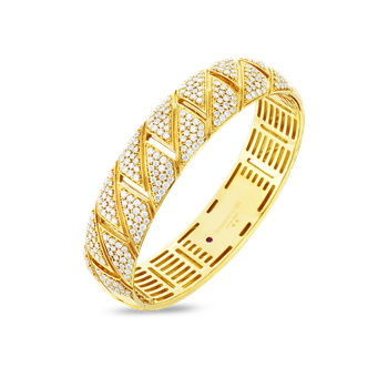 18Kt Gold All Diamond Gourmette Bangle