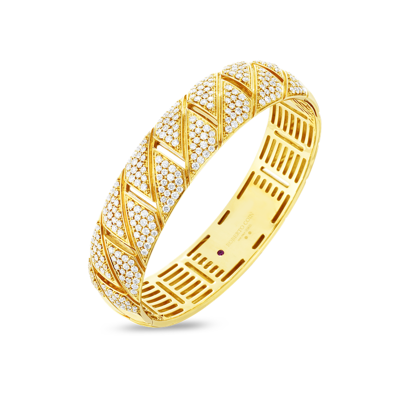 Roberto Coin 18Kt Gold All Diamond Gourmette Bangle