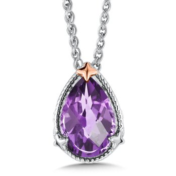 Sterling Silver and 18K Rose Gold Amethyst Pendant