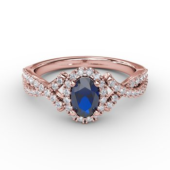 Swirls of Love Sapphire and Diamond Twist Ring