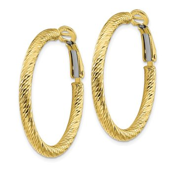 10k 3x25 Diamond-cut Round Omega Back Hoop Earrings