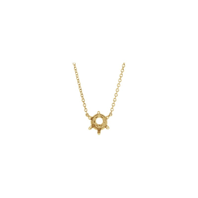 "14K Yellow 6 mm Round Solitaire 18"" Necklace Mounting"