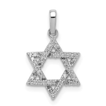 14k White Gold Diamond Star of David Pendant