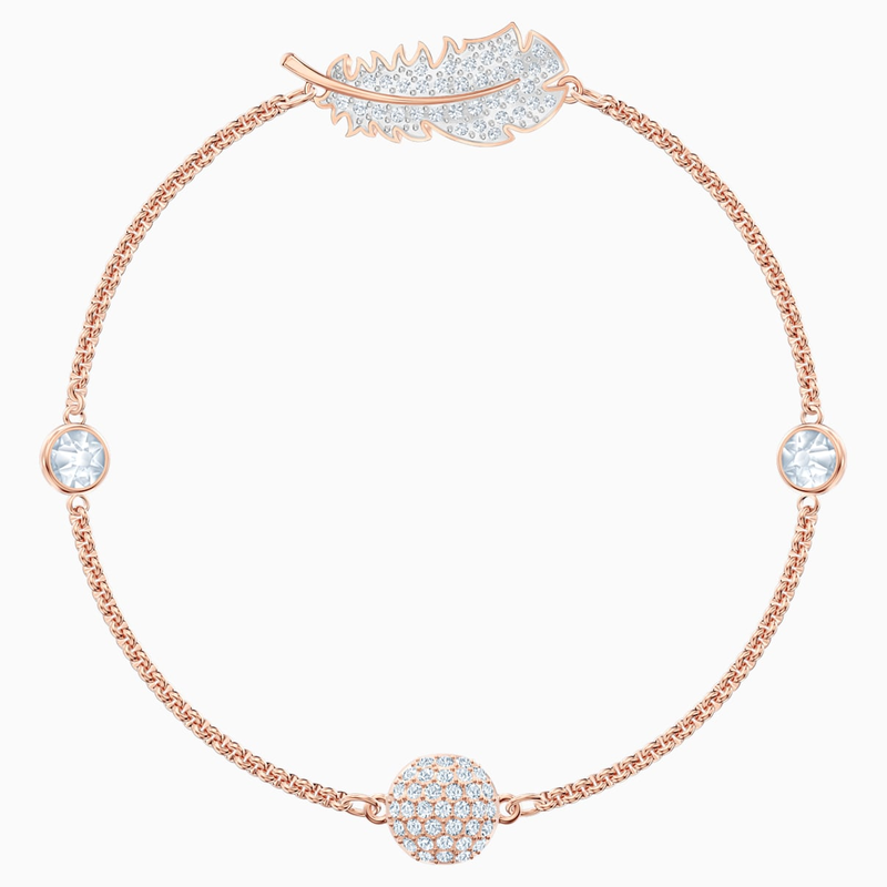 Swarovski Swarovski Remix Collection Feather Strand, White, Rose-gold tone plated