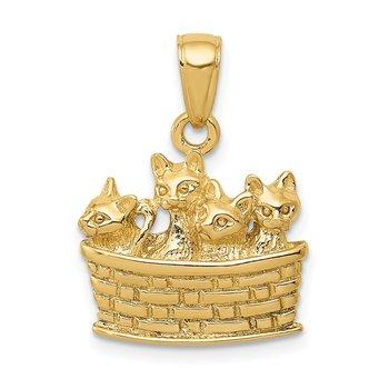 14k Solid Polished 3-D Kittens in Basket Pendant