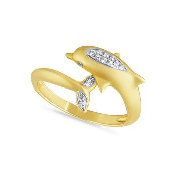 14k dolphin ring with 15 diamonds 0.09ct, 1/2 INCHES WIDE ON TOP