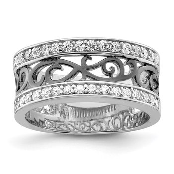 Sterling Silver CZ Black Filigree Design Ring