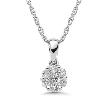 Pave set Diamond Cluster Pendant in 14k White Gold (1/4 ct. tw.)