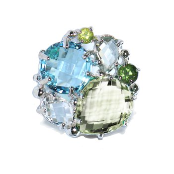 Bouquet Ring - Blue Topaz, Prasiolite, & Silver