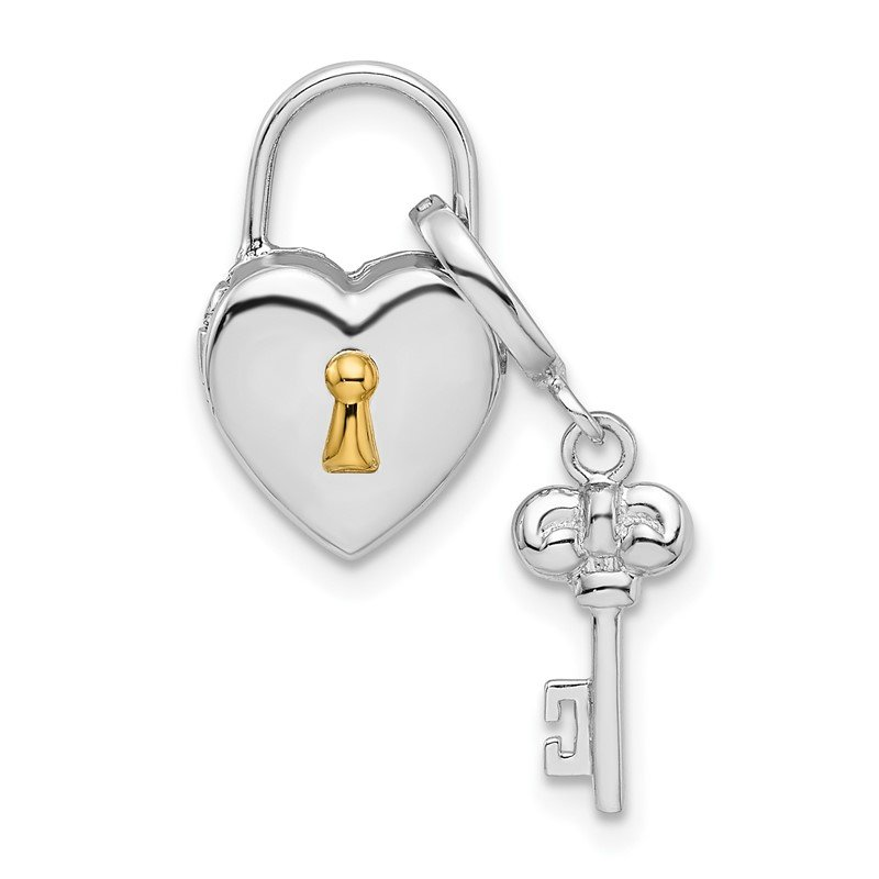 Quality Gold Sterling Silver Rhodium-plated 10mm Heart Lock & Key Hinge Locket