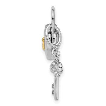 Sterling Silver Rhodium-plated 10mm Heart Lock & Key Hinge Locket