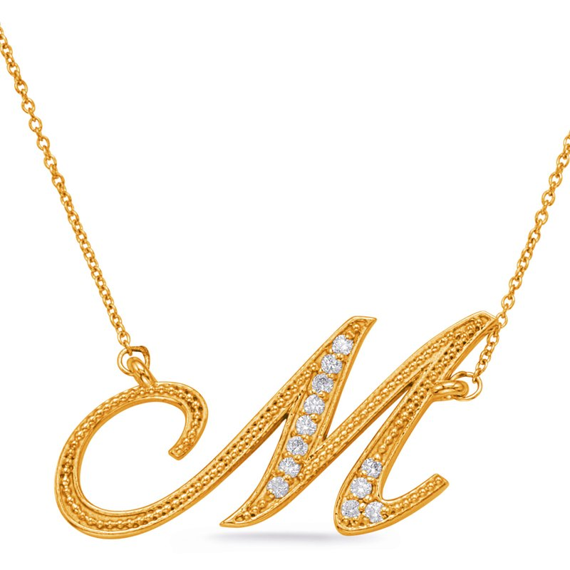 S. Kashi  & Sons Yellow Gold Diamond Initial M Pendant