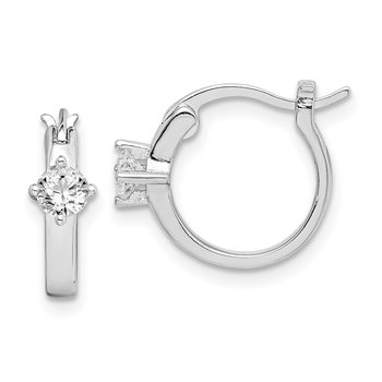 Sterling Silver Rhodium-plated Square CZ Hoop Earrings