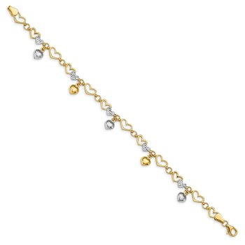14K & White Rhodium Polished Heart D/C Bracelet