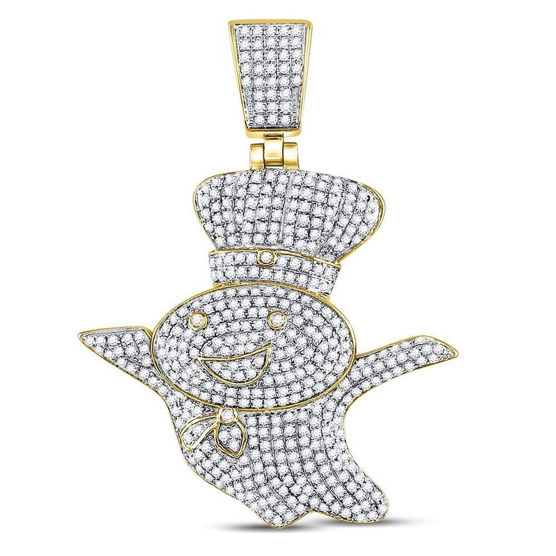 Gold-N-Diamonds, Inc. (Atlanta) 10kt Yellow Gold Mens Round Diamond Doughboy Charm Pendant 1-1/3 Cttw
